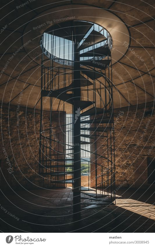 spiral staircase Architecture Old town Deserted Manmade structures Wall (barrier) Wall (building) Stairs Dark Modern Blue Brown Winding staircase Tower
