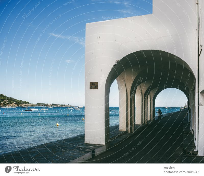 colonades Small Town Old town House (Residential Structure) Gate Building Colonnades Wall (barrier) Wall (building) Facade Street Maritime Blue White Pedestrian