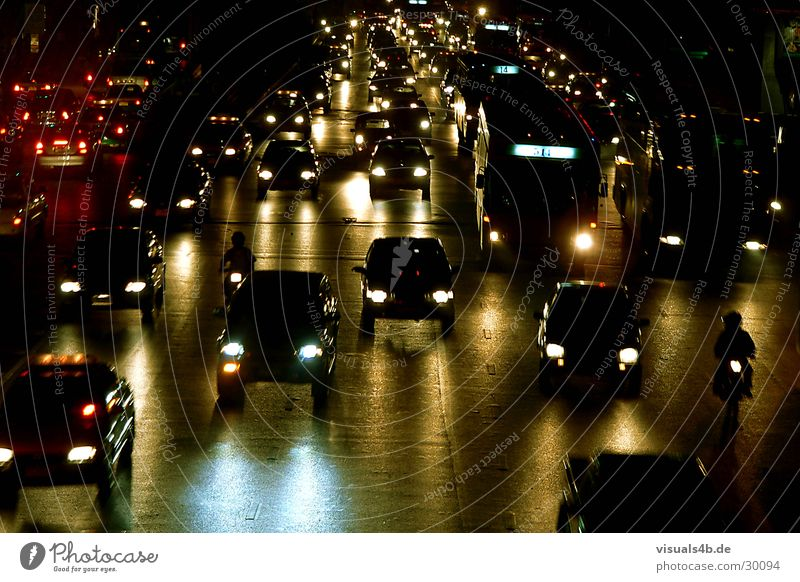 Bangkok Nights Dark Light Transport Traffic jam Asia Thailand Yellow Green Motorcycle Stress Panic Commuter Fine particles Highway Floodlight Car Street smock