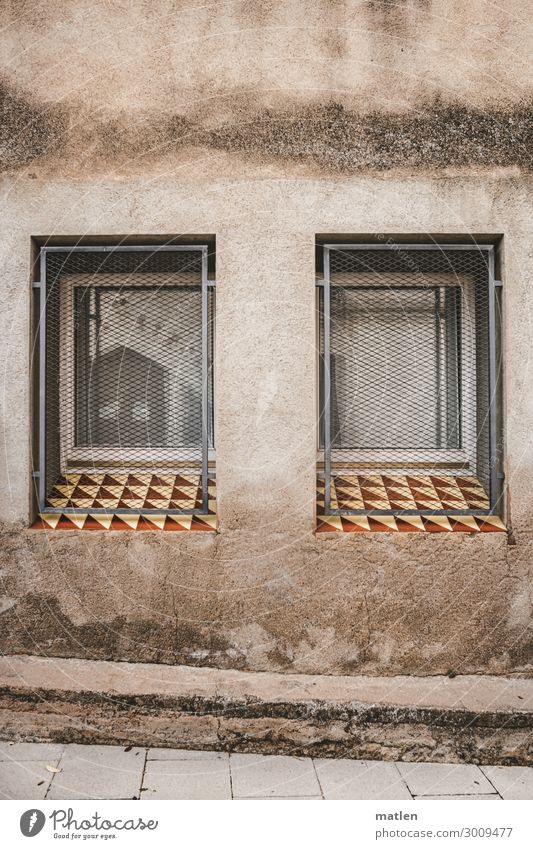 window seat Small Town Deserted Wall (barrier) Wall (building) Facade Window Exceptional Brown Gray White Grating Window board Tile Rendered facade Colour photo