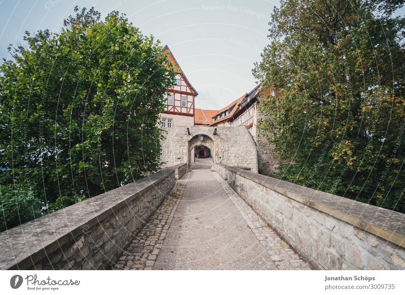 long bridge to the castle Small Town Old town House (Residential Structure) Castle Bridge Esthetic Bridge railing Wide angle Thuringia Germany Tree Gate