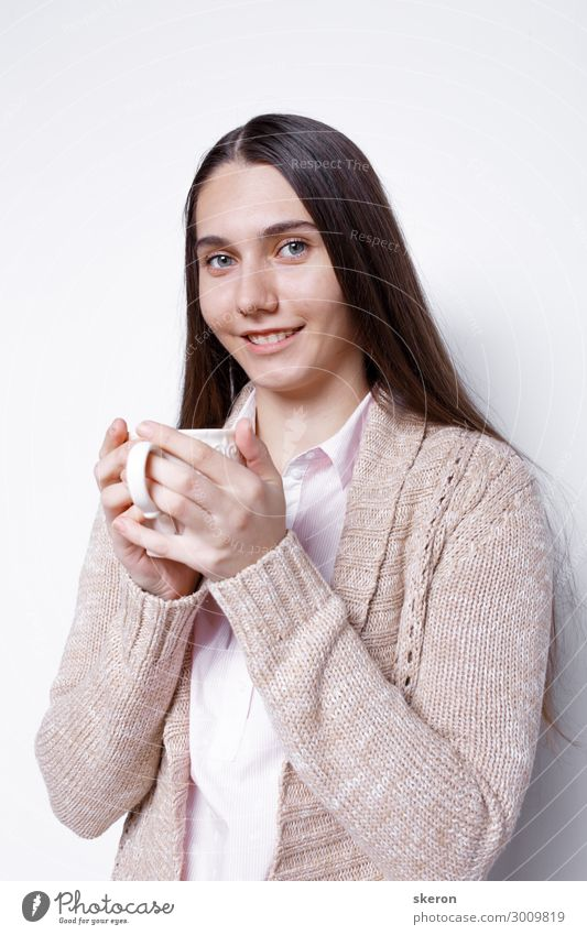 cute girl drinking hot coffee Nutrition Eating Breakfast Lunch To have a coffee Dinner Business lunch Beverage Hot drink Milk Hot Chocolate Coffee Tea Mug