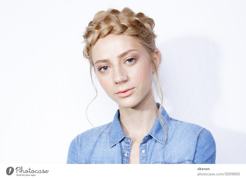 stylish girl in denim jacket and creative hairstyle Human being Youth (Young adults) Young woman Beautiful Healthy 18 - 30 years Lifestyle Adults Feminine