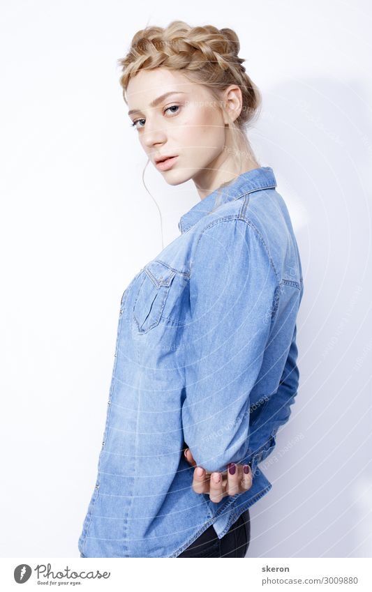 stylish girl in denim jacket and creative hairstyle Human being Youth (Young adults) Young woman Beautiful 18 - 30 years Lifestyle Adults Natural Feminine