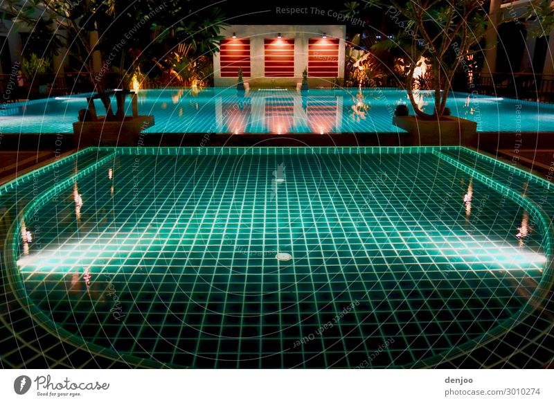 swimming pool Wellness Relaxation Calm Swimming pool Swimming & Bathing Vacation & Travel Water Exterior shot Night Light Shadow Contrast Reflection