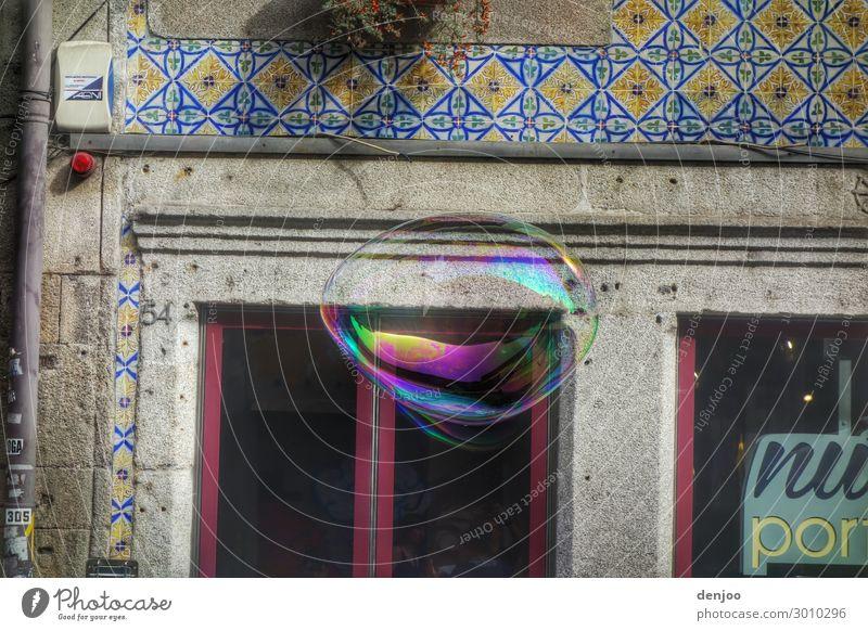 soap bubble Water Drop Round Perspective Soap bubble Multicoloured Air Colour photo Exterior shot Deserted