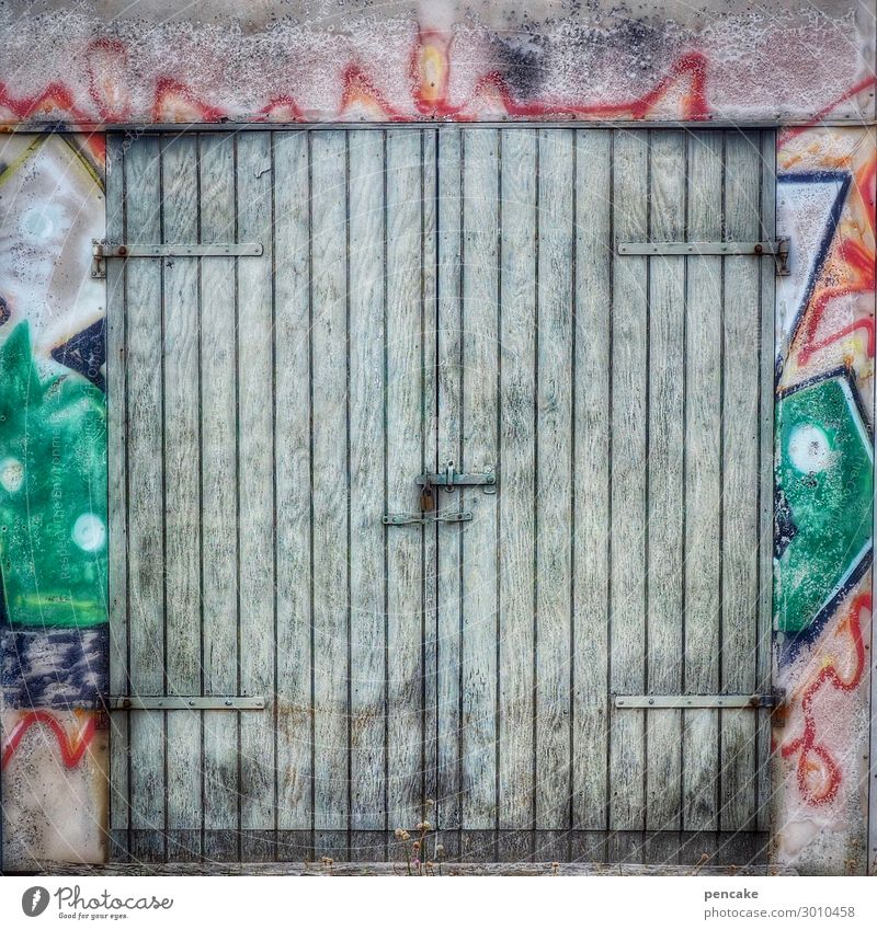 Come in and find out! Fishing village Hut Gate Facade Door Old Authentic Cool (slang) Dirty Hip & trendy Graffiti Denmark Wooden door Painted Colour photo