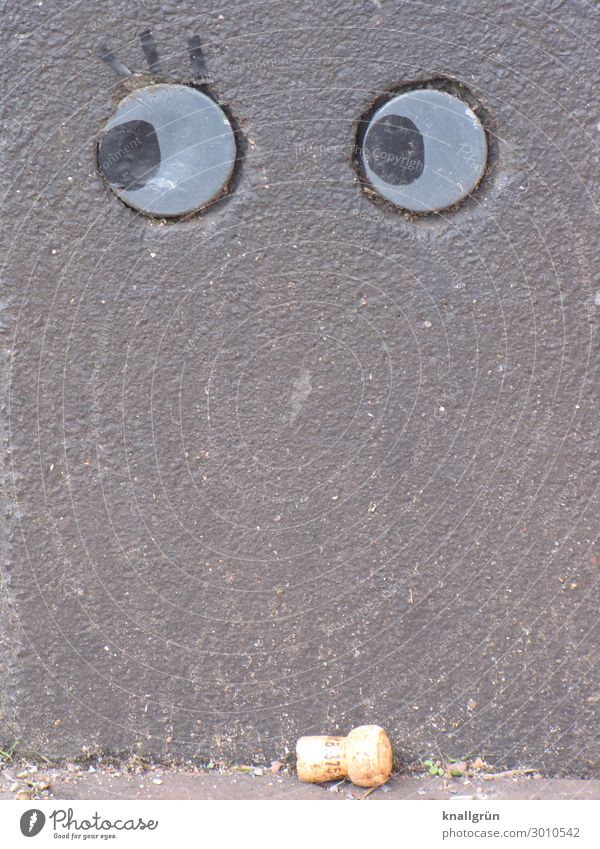 Graffiti Wall (building) Emotions Wall (barrier) Brown Gray Observe Surprise Eyelash Skeptical Cork