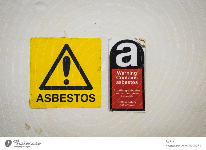 Warning Contains asbestos! Vacation & Travel Tourism Sightseeing City trip Laboratory Work and employment Profession Workplace Construction site Economy