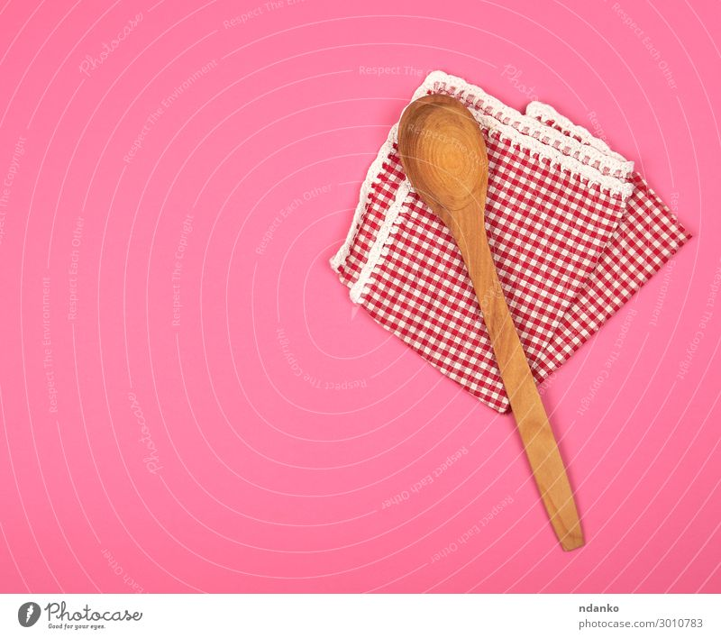 wooden spoon on a red kitchen towel Spoon Design Table Kitchen Restaurant Wood Clean Brown Pink Red background Canvas Checkered Cotton cover empty Folded food