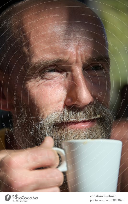 Human being Vacation & Travel Man Summer Relaxation Adults Happy Contentment 45 - 60 years Joie de vivre (Vitality) To enjoy Break Coffee Drinking Facial hair