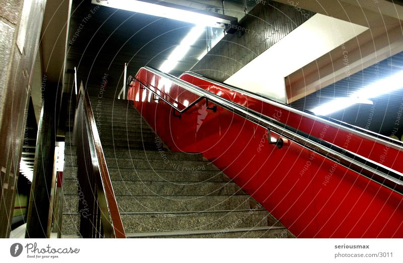 escalator Escalator Underground Subsoil Night Red Architecture Stairs