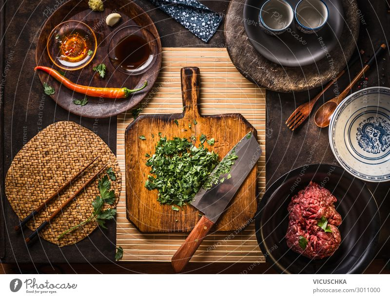 Asian cooking Food Meat Herbs and spices Cooking oil Nutrition Organic produce Asian Food Crockery Style Healthy Eating Restaurant Design herbs wooden