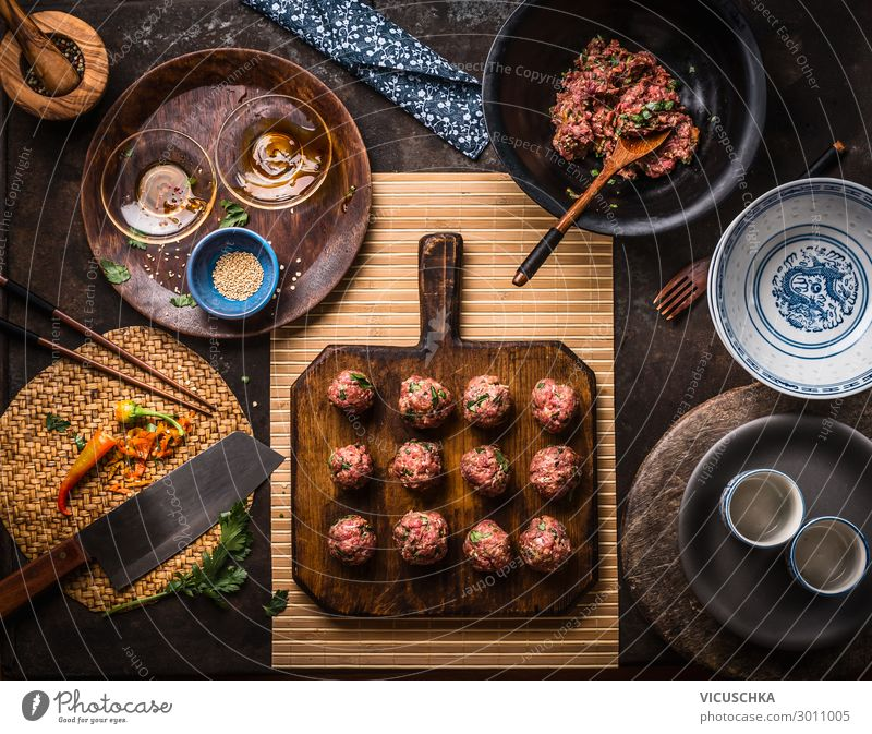 Asian meatballs on cutting board Food Meat Nutrition Asian Food Crockery Style Design Table Restaurant meat balls ingredients top view asian cuisine Thai