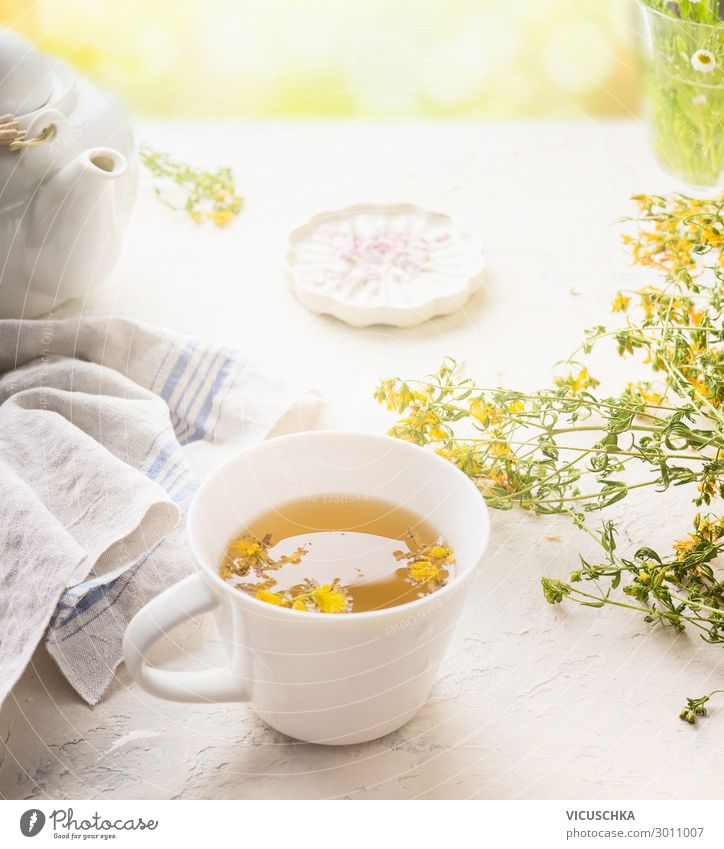 Herbal tea on a sunny summer day Food Herbs and spices Beverage Hot drink Tea Cup Style Design Healthy Healthy Eating Summer Table Yellow Background picture