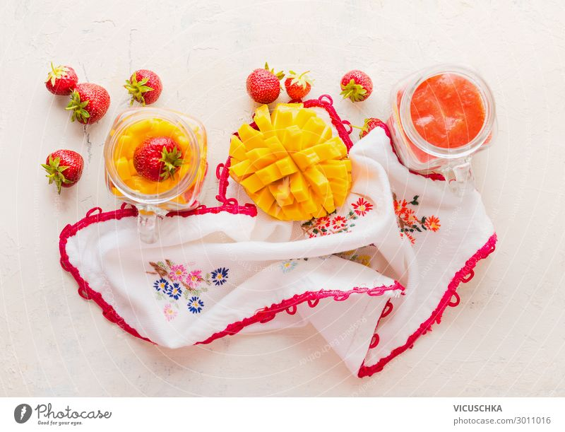 Glasses with Strawberries and Mango Smoothies Food Fruit Dessert Nutrition Breakfast Crockery Style Design Healthy Eating Milkshake Background picture