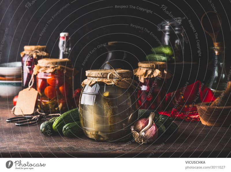 Glasses with pickled vegetables and fruit Food Vegetable Fruit Herbs and spices Nutrition Organic produce Vegetarian diet Diet Crockery Lifestyle Shopping Style