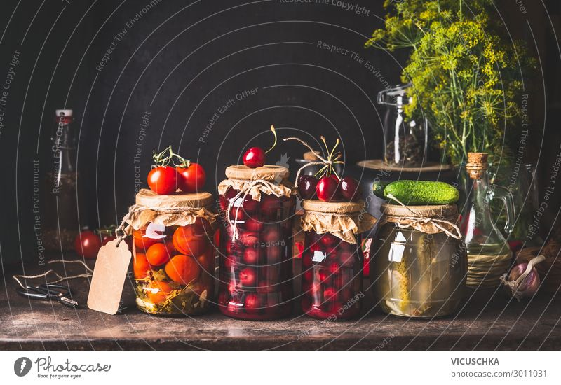 Preserved and fermented food in jars Food Vegetable Fruit Nutrition Organic produce Vegetarian diet Diet Glass Shopping Design Healthy Eating Living or residing