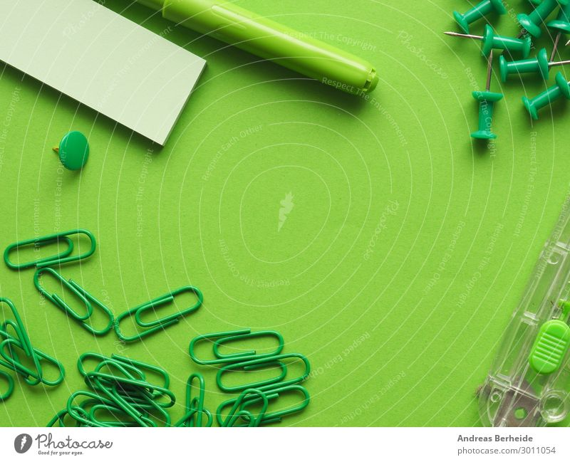 Green Background picture Business Office Arrangement Workplace Piece of paper Office work Thumbtack Pin Paper clip Felt-tipped pen Cutter Knife