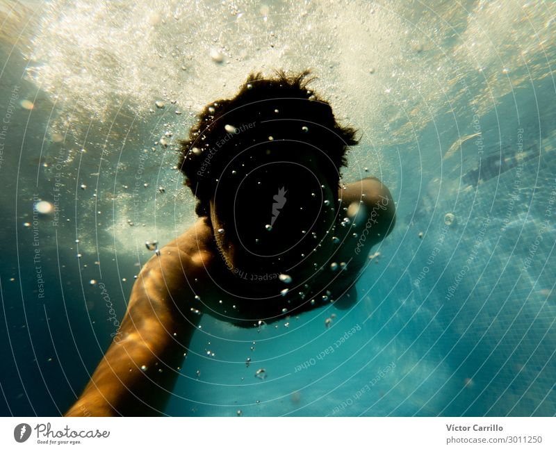 Underwater Photo. A man diving in a pool in summer time Lifestyle Leisure and hobbies Vacation & Travel Tourism Trip Freedom Summer Summer vacation Aquatics