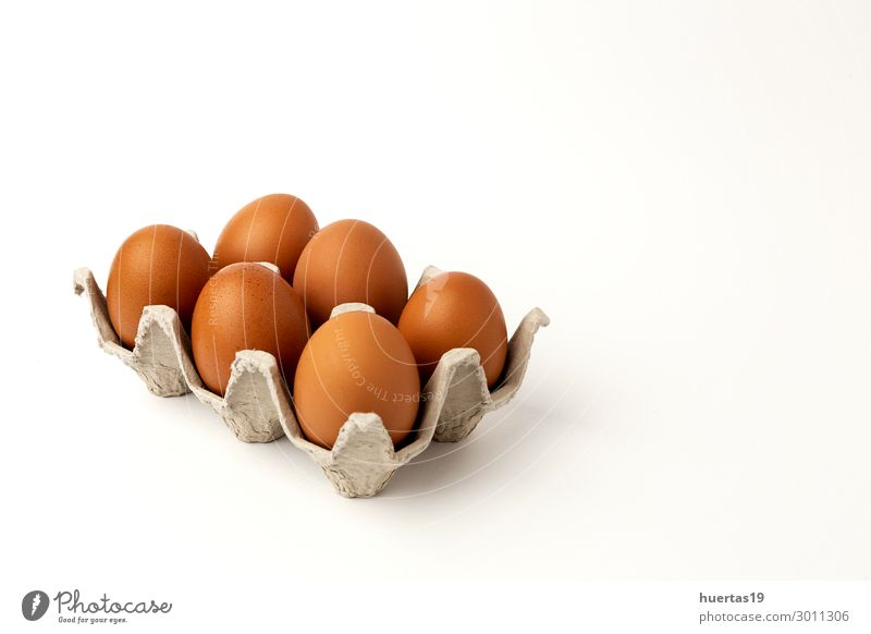 Fresh raw eggs on white background Food Dairy Products Breakfast Organic produce Decoration Group Animal Natural Original Yellow Colour Egg Browns Chicken