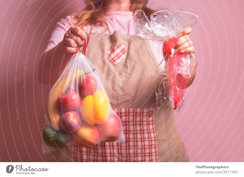 Woman holding eco bag with groceries and plastic packages Human being Healthy Eating Red Food Lifestyle Adults Environment Pink Body Shopping Plastic Trash
