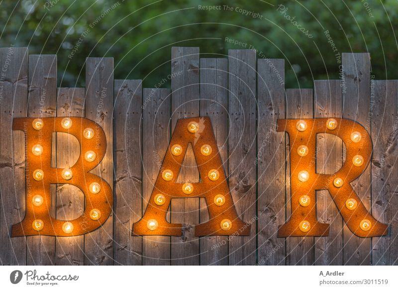 Letters BAR on wooden fence illuminated Decoration Lamp Art Exhibition Event Wall (barrier) Wall (building) Facade Garden Fence Wooden fence Sign Characters