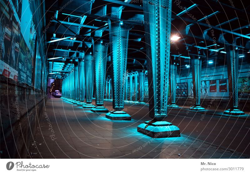 Underground Street Tunnel Dark Cold Blue Steel Steel carrier Architecture Sidewalk Iron blue Underpass Lighting Artificial light Steel construction Cologne Prop