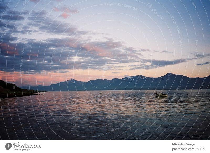 Midnight Sun II Scandinavia Norway Tromsø Midnight sun Clouds Night Sunset Ocean Watercraft Arctic circle Sky