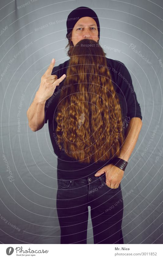 ZZ Top Lifestyle Masculine Feminine Hair and hairstyles Facial hair 2 Human being Jeans Accessory Cap Beard Stand Exceptional Hip & trendy Cool (slang)