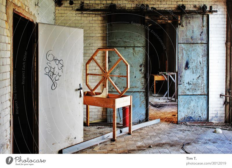 sausage factory Sausage Berlin Lichtenberg Town Capital city Deserted House (Residential Structure) Industrial plant Factory Door Apocalyptic sentiment Decline