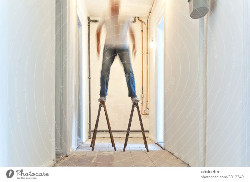 stand Old building Period apartment Motion blur Hallway Wooden floor Floor covering Man Wall (barrier) Human being Room Interior design Copy Space Stage play