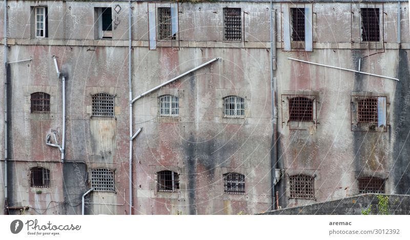 Facade of a prison Brest Brittany France Europe Town House (Residential Structure) Ruin Penitentiary Window Force Society Colour photo Subdued colour