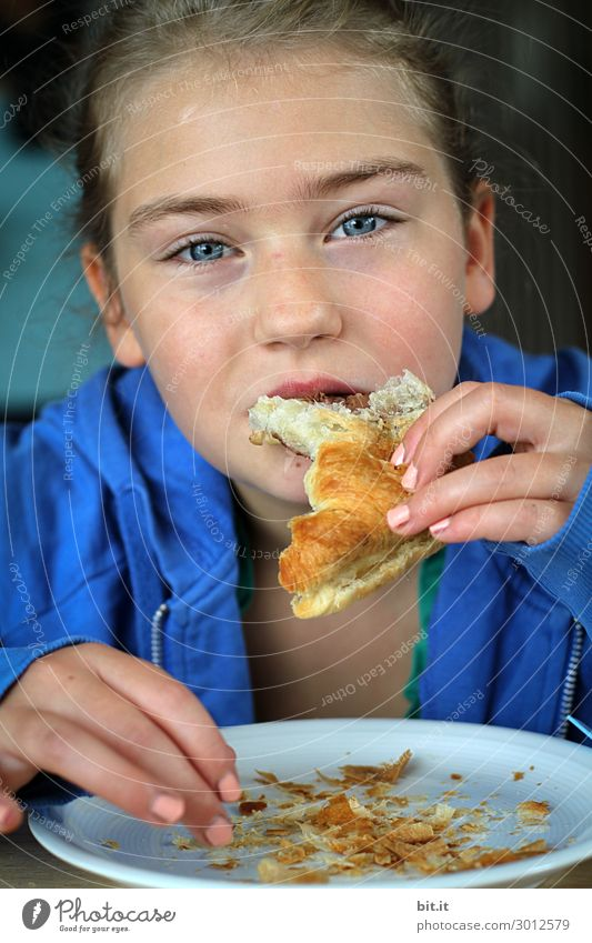 Enjoy with sensitivity... Human being Feminine Child Girl Eating To enjoy Croissant Fingers Hand Colour photo Interior shot Studio shot Close-up