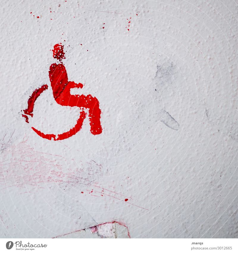 Barrier-free Wall (barrier) Wall (building) Wheelchair Pictogram Sign Red White Disability friendly Colour photo Exterior shot Deserted Copy Space left