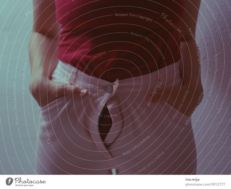 Hold your breath... Human being Feminine Fat Thin Esthetic Diet Weight problems Zipper Narrow Colour photo Central perspective