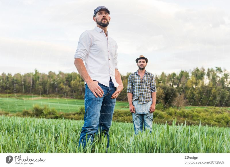 Two men standing in oat field with forest in background Human being Nature Youth (Young adults) Man Plant Young man Landscape Forest Adults To talk Natural