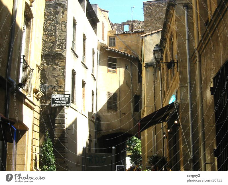 front squeal France Alley House (Residential Structure) Narrow Vacation & Travel Brown Europe Sun Shadow Contrast