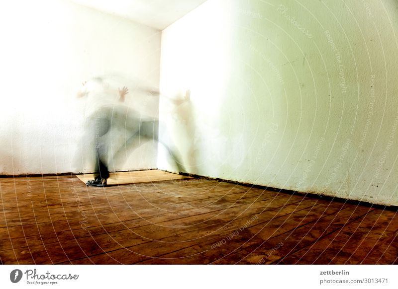 fit of trembling Old building Period apartment Motion blur Hallway Wooden floor Floor covering Man Wall (barrier) Human being Room Interior design Copy Space
