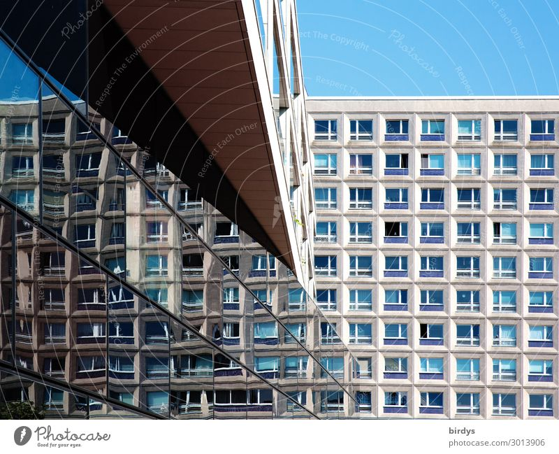 Urban architectural impression Cloudless sky Beautiful weather Berlin Capital city Deserted High-rise Architecture Office building Tower block Facade Window