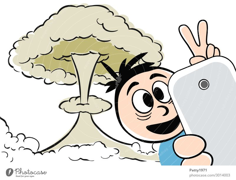 Catastropheselphie - Being there is everything Lifestyle Nuclear Power Plant Mushroom cloud Masculine 1 Human being Selfie Sign Gesture Smiling Threat Crazy