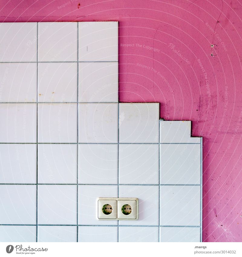 plug-in Wall (barrier) Wall (building) Tile Socket 2 Living or residing Simple Pink White Colour Electricity Energy industry Colour photo Interior shot Deserted