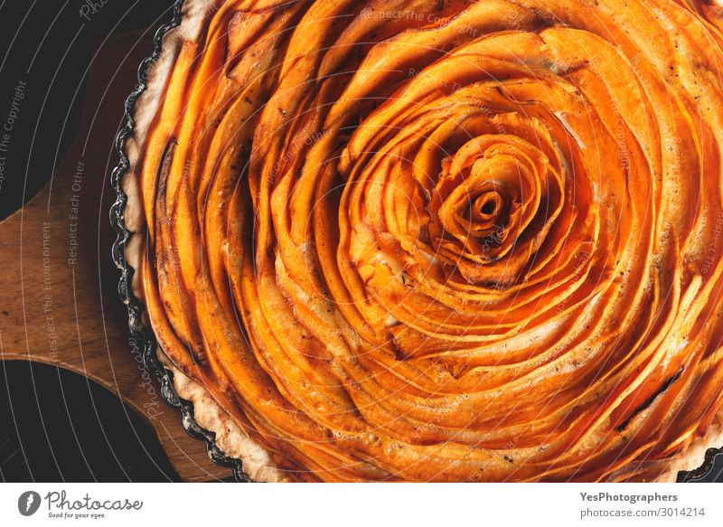 Sweet potato tart. Flat lay of American dish Food Dough Baked goods Lunch Dinner Decoration Kitchen Autumn Tradition Thanksgiving day above view Baking colorful