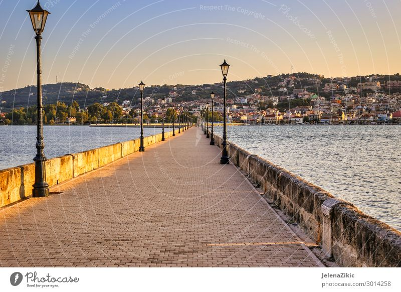 De Bosset bridge on lakeside in Argostoli, Kefalonia, Greece Vacation & Travel Nature Summer Blue Town Beautiful Landscape Sun Ocean Relaxation Architecture