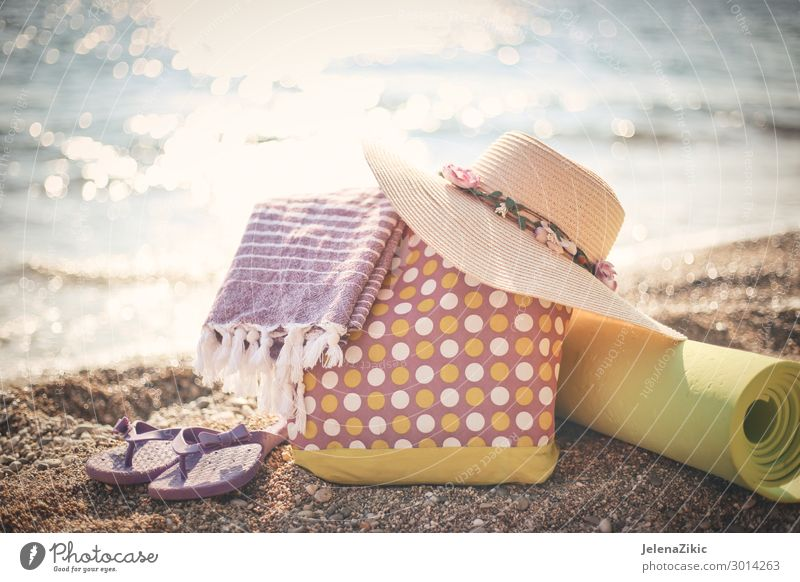 Summer photo of beach accessories on the beach Lifestyle Exotic Relaxation Leisure and hobbies Vacation & Travel Tourism Summer vacation Sun Sunbathing Beach