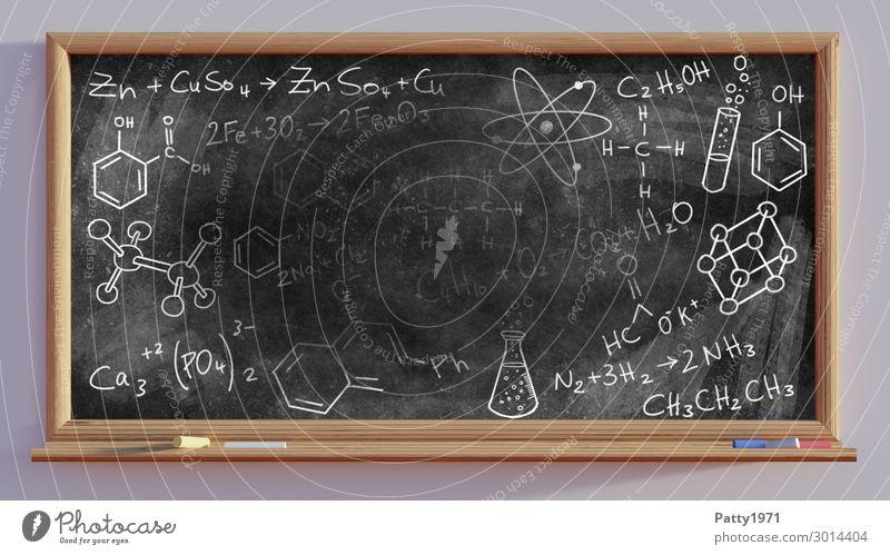 Chemical formulas on black board - 3D Render Education Science & Research School Blackboard Academic studies Chalk drawing Formula Characters Sign