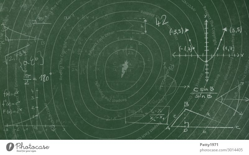 Mathematics on a green school board Education Science & Research School Blackboard Academic studies Physics Background picture Sign Characters