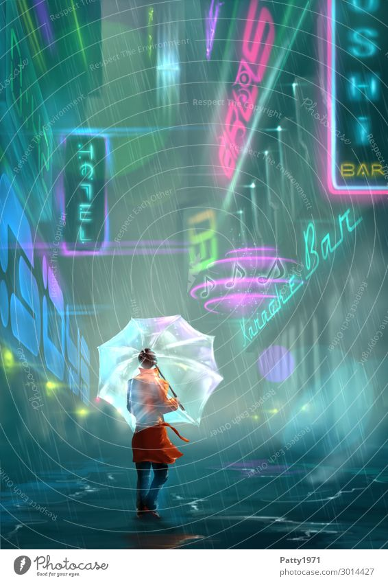 Neon Alley - Illustration Night life Entertainment Restaurant Club Disco Bar Cocktail bar Neon light Human being Feminine Young woman Youth (Young adults) 1