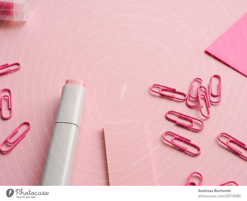 Office utensils in pink Office work Workplace Business Pink Idea Uniqueness Inspiration Creativity Arrangement Background picture Felt-tipped pen puristic