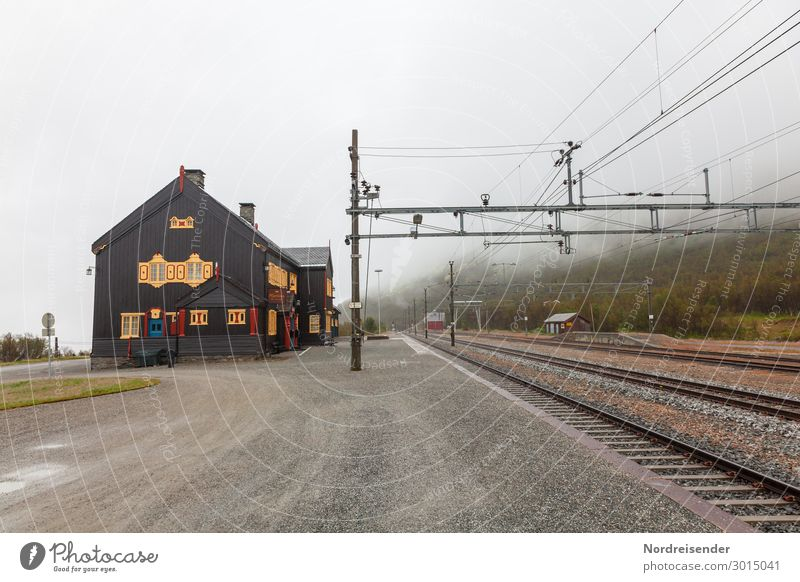Railway station on Dovrefjell Vacation & Travel Tourism Far-off places Landscape Clouds Weather Bad weather Fog Rain Mountain Village